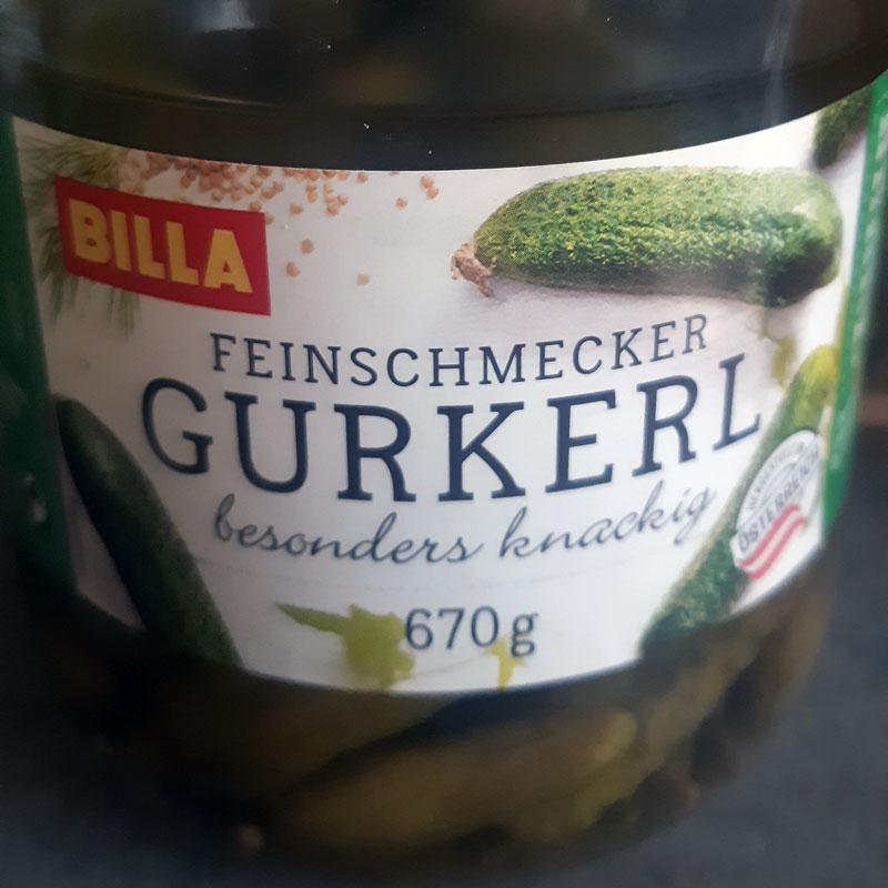 A preserving jar glass bottle of gourmet gherkins or pickles from Austria